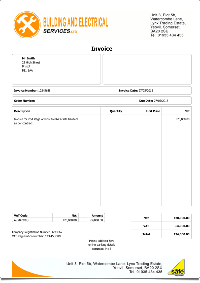 CIA Accounts HBXL Estimating Software For Builders And Developers - Invoice requirements uk