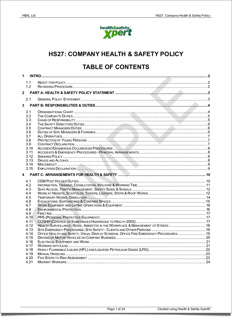 Company health safety policy hbxl estimating software for why do you need a health and safety policy wajeb Gallery