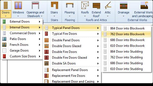 PlansXpress Building plan drawing tool add-doors