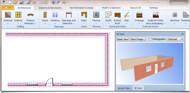 PlansXpress Building plan drawing tool  Simultaneous 3D model creation whilst drawing in 2D plan view