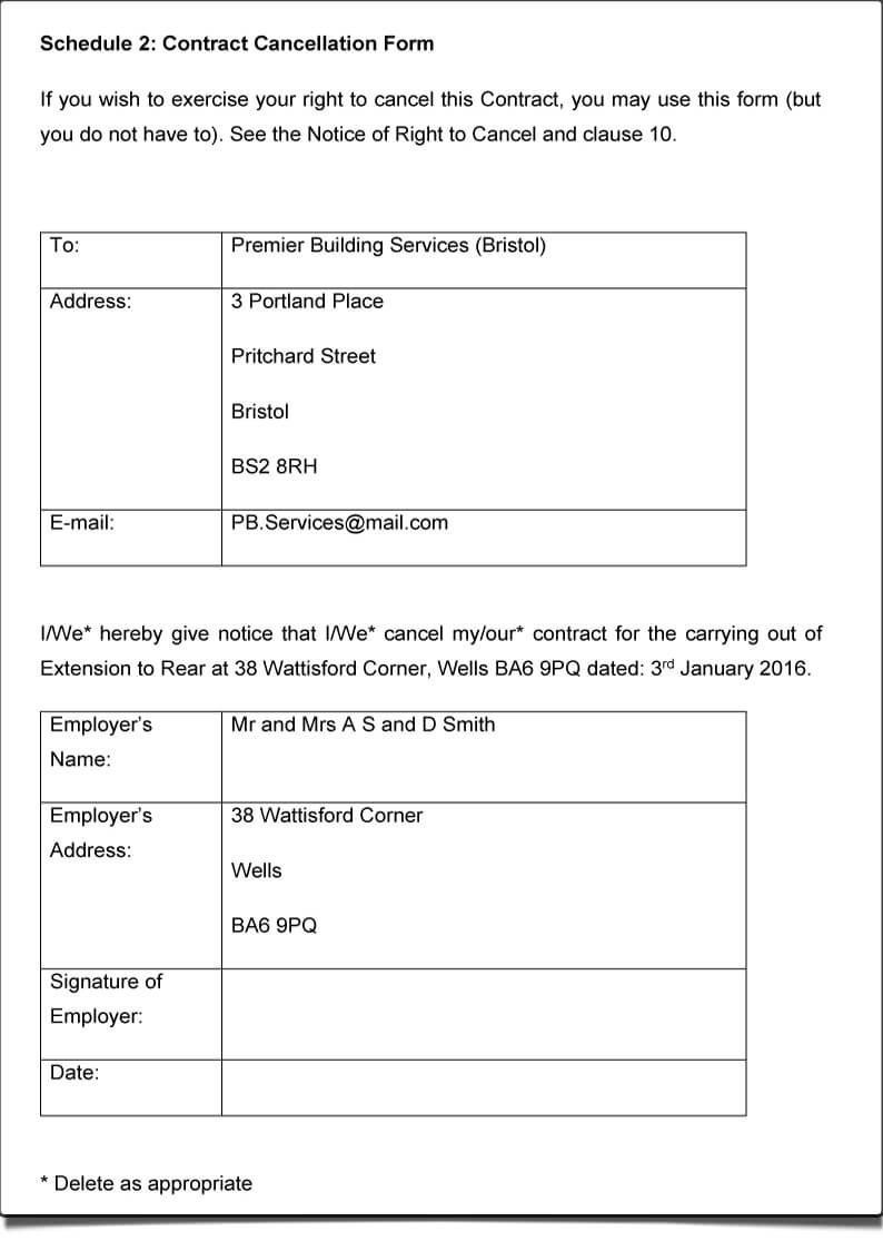 ContractsXpert cancelation form