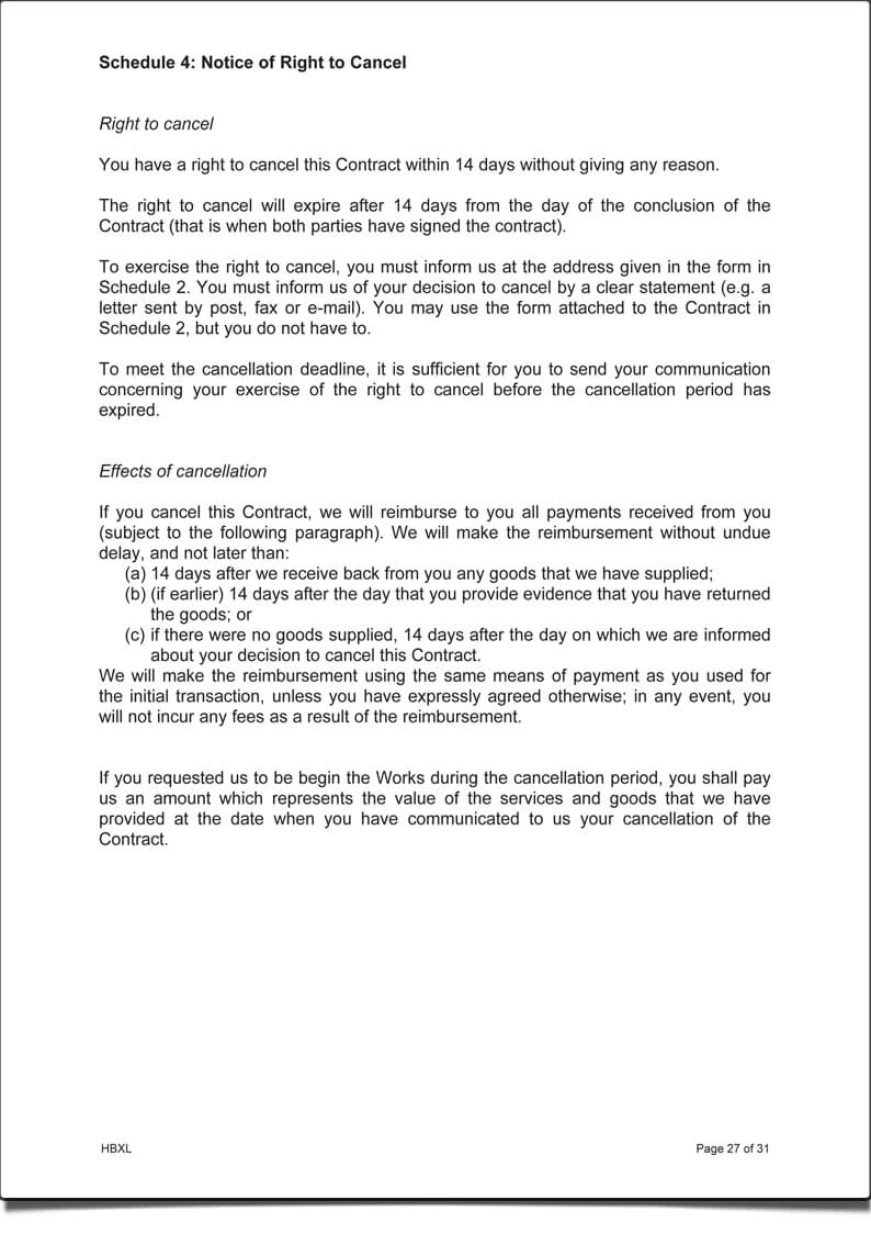 ContractsXpert Notice of right to cancel